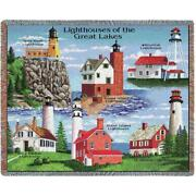 70x53 Great Lakes Lighthouse Tapestry Afghan Throw Blanket
