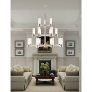 Livex Weston 17 Light Foyer Chandelier P Nickel/satin Opal White - 52119-35