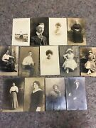 Real Photo Postcard Lot Of 13 - Men - Women - Some Named - Fashion