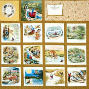 Rare Fabric Book Panel - Scuffy The Tugboat - Quilting Little Golden Books Boat
