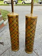 Mid Century Tall Lamps Paul Evans Style Brass N Copper Criscross