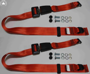 Static Lap Belt Set For Polo Since 80 Passat+variant From 79-80 Red New