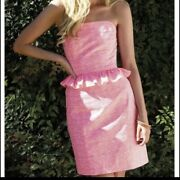 Lily Pulitzer Nwt Pink Gingham Strapless Dress Size 2