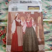 Butterick 6196 Costume Sewing Pattern Ladies Historical Medieval Dress Corset