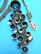 230konplott Antique Silver Blue Crystal And039cocoonand039 Collection Cluster Necklace K