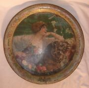 Scarce Old Rainier Beer Round Metal Tray Has Wear And 3 Small Nail Holes