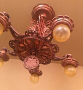 Vintage Lighting 1920s Copper Finish Thistle Ceiling Fixture. Extraordinary