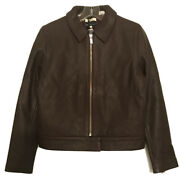 Leviandrsquos Made And Crafted Italy Brown Leather Bomber Jacket 2 Nwt