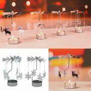 Christmas Spinning Candle Holder Table Decorations For Home Ornament New Gifts