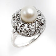 Rare 14k White Gold Art Deco Style Pearl And Diamond Ring Size 8