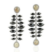 Prong Set Multicolor Diamond 18k White Gold Drop Dangle Earrings Jewelry For Her