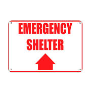 Horizontal Metal Sign Multiple Sizes Fire Emergency Shelter With Upper Arrow