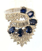 Fine Blue Sapphire Waterfall And Diamond Cluster 18k Gold Cocktail Ring 3.9 Carats