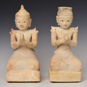 18th Century Shan A Pair Of Antique Burmese Soapstone Seated Angels