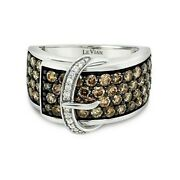 Levian 14k White Gold Round Chocolate Brown Diamond Cluster Buckle Cocktail Ring