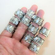 200 Pcs. Lot Natural Marquise Moonstone 925 Silver Plated Spinner Yoga Rings N12