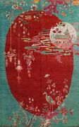 Pictorial Red/aqua Art Deco Nichols Chinese Area Rug Hand-knotted Wool 9x12 Ft