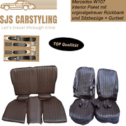 Seat Covers + Back Seat Foldable + Seat Belts Braun For Mercedes Sl R/w107