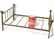 Antique 16 Iron And Brass Bed Frame Childs Doll Or Dolls House Furniture Sample