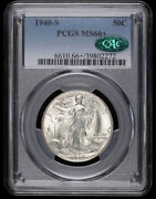 1940 S Walking Liberty Silver Half Dollar Coin Pcgs Ms66+ Plus Cac
