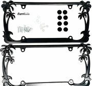 Tropical Palm Tree License Plate Frame 2 Frames With Caps - Black