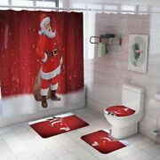 Bathroom Santa Claus Shower Curtain And Toilet Seat Cover Christmas Decorations