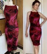 Vintage Tom Ford Silk Marbled Dress 42 6 Rare 90and039s Sleeveless Pink Swirl