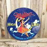Miller High Life Brew Beer 14 Round Embossed Metal Tin Sign Bar Man Cave New