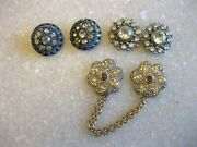 Lot Of 6 Vintage Or Antique Rhinestone Buttons / 2 Are Tandg / Free Shipping