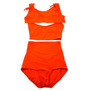 36 Cc Chest Opening Tops High Waist Pants Swimwear Swimsuit Red Y04425