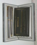 Parker Premier Set Sterling Silver Fountain Pen M Pt And Ballpoint Pen New In Box