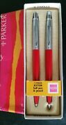 Parker Jotter Set Red Ballpoint Pen And 0.9mm Pencil New In Box Brass Made In Usa