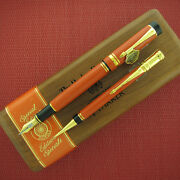 Parker Duofold Set Special Edition Orange Fountain Pen Med Pt And Pencil New In Bx