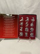 Harvey Lewis Ornaments Silver Plated 12 Days Of Christmas Crystals Nib