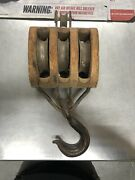 Vintage Wooden Block And Tackle Used