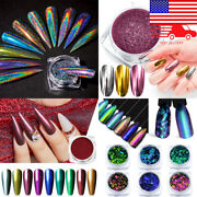 Glitter Nail Powder Dust Sequins Flakes Foils 3d Decorations Metallic Pigment Us