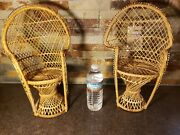 Pair Of Nice Vintage Antique Large Wicker Doll Chairs Furniture