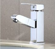 Polished Stainless Steel Mixed Water Basin Pull Out Sprayer Bathroom Faucets