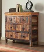 Artsy And Rustic Reclaimed Wood Finish 4 Drawer Storage Cabinet Chest Furniture