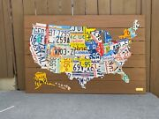 Usa License Plate Map United States Real Plates Large 52andrdquox34andrdquo Bar Artandnbsp