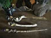 New Wiccan Handcrafted Wand Made Of Driftwood From Puget Sound And Raw Crystals