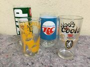 Lot Of Vintage Advertising Drinking Glasses-rc Cola-7 Up-coors-blondes Have Fun
