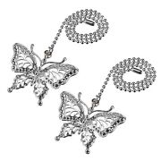 Uxcell Butterfly Chromium Finish Pendant 12 Inch Silver Tone Pull Chain For Ligh