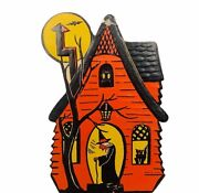 Halloween Decoration Vtg Wall Beistle Sign 1960s Anthropomorphic Witch Haunted