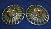 1967 Mustang Used Accessory 2 Large Hubcaps, Wheel Covers. 1 Has Dents In Ctr