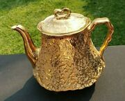 Vintage Bel-terr China Weeping Gold 22 Kt Gold 7 Teapot And Lid 48 Oz. Made Usa