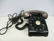Vtg Bell System Western Electric Black 500 Rotary Dial Phone W Silverplate Cover