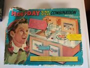 Vintage Tin Toy Holiday Sink Stove Combination T.n Nomura Japan 1950s Boxed