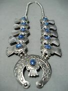 Signed Womenand039s Vintage Navajo Lapis Sterling Silver Squash Blossom Necklace