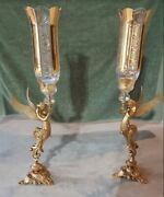 A Pair Of Handmade French Style Chandelier With Angels And Etched Glass Tops